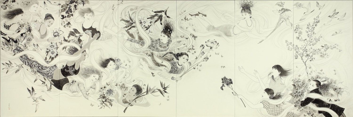"A sister work of ""<a href=""https://hiromimiura.com/1017-180x90x6_tennyo-raizu/"" class=""internal"">Emergence of <i>tennyo</i> (celestial maidens)</a>"", drawn after the Tohoku earthquake and tsunami in 2011, which also hit the hometown of the author.  The image depicts <i>tennyo</i>, or angels, with different backgrounds around the world holding flowers of hope."