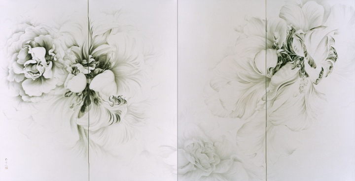 The left counterpart of a pair of folding screens.