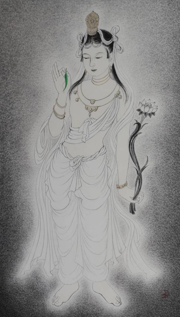 <i>Ryuuyou Kannon</i> (柳葉観音) is one of the thirty-three forms of <i>Kannon bosatsu</i> (Guanyin), holding a leaf of the willow tree (Salix spp.), which naturally yields salicylic acid (cf. aspirin) and used as medicine.